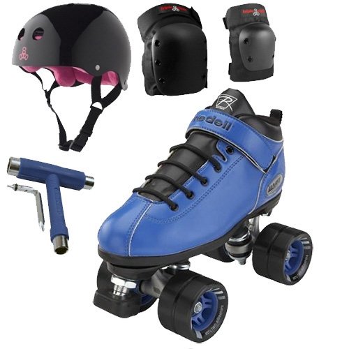 Riedell Dart Blue Speed Skates Package