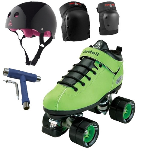 Riedell Dart Green Speed Skates Package