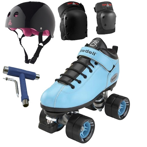 Riedell Dart Light Blue Speed Skates Package