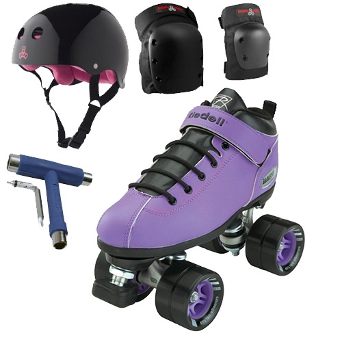 Riedell Dart Purple Speed Skates Package