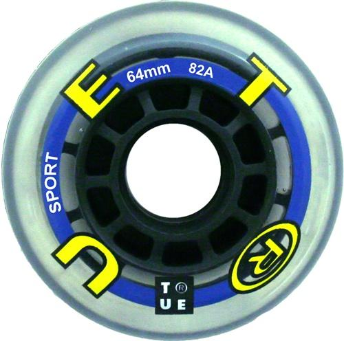 True rollerblade Clear inline YOUTH WHEELS - 4 pack - 64mm x 82a
