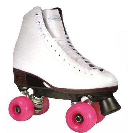 New Riedell Roller Skate Package - Riedell 110 White Aerobic Outdoor Quads