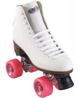 Riedell 110 WHITE Citizen Outdoor Roller Skates pink wheels Also great for indoors