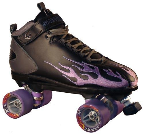 Rock Skates Indoor Speed-Jam Roller Skates with Flames for Roller Derby and Mad Speeds!