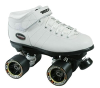 Sure-Grip Carrera White roller skates for indoor speed skating. Riedell quality