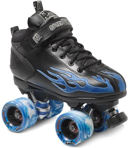 Derby roller skates blue flame black Rock Speed Skates