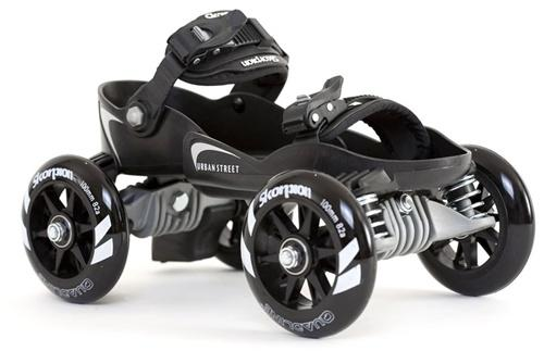 Skorpion Quadline Urban Street Skates - Large Black/White