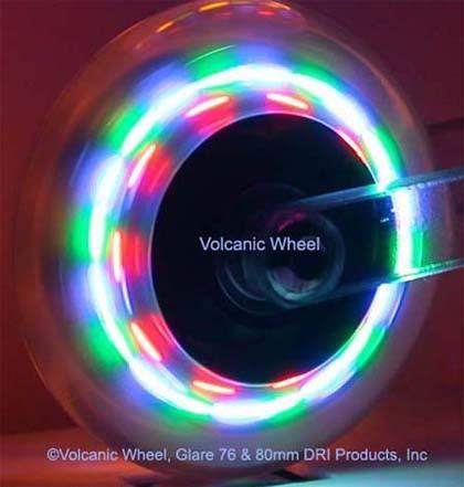 Light up inline skate wheels. They light up as they spin with 4 LED colors!