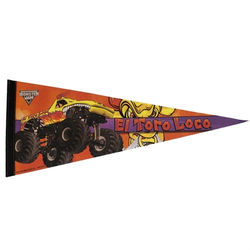 El Toro Loco Yellow Monster Truck Pennant