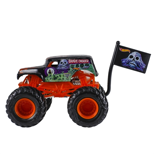 1:64 Hot Wheels Grave Digger Orange Truck - Flag Series - 3/10 Epic Additions