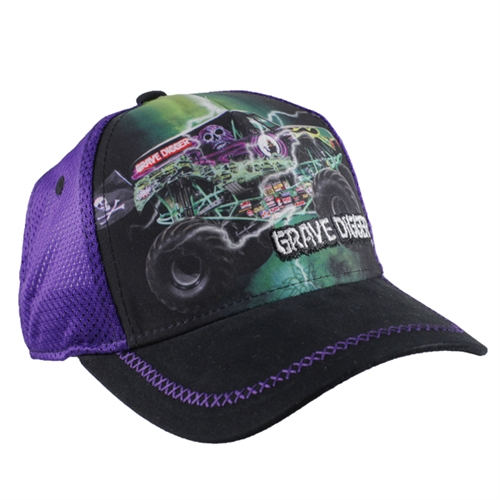 Grave Digger Purple Mesh Youth Cap