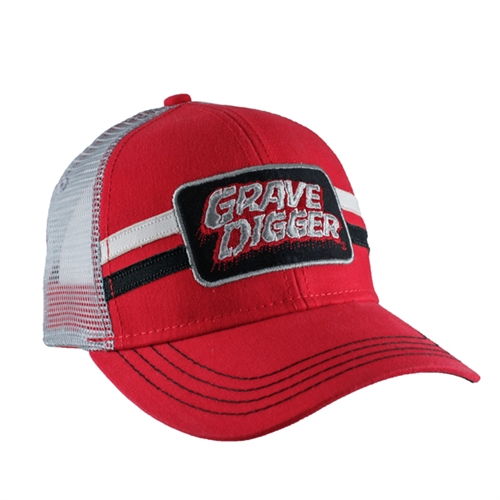Grave Digger Two Stripe Red Cap