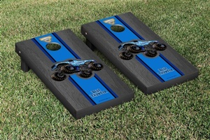 Monster Jam Blue Thunder Cornhole Game Set Onyx Stained Stripe Version