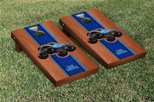 Monster Jam Blue Thunder Cornhole Game Set Rosewood Stained Stripe Version