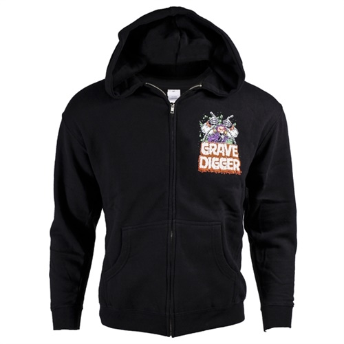 Grave Digger Black Youth Zip Sweater Hoodie