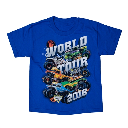 Blue Monster Jam World Tour 2018 Youth Tee