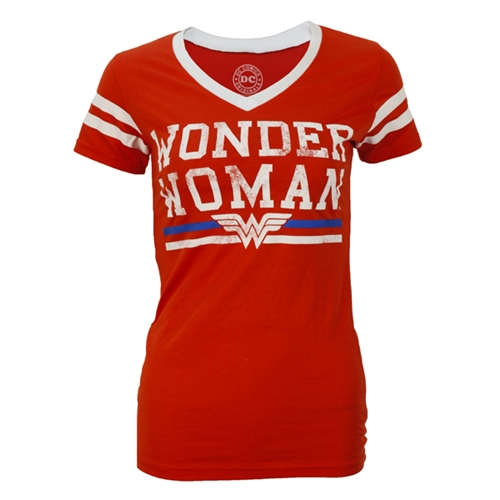 Wonder Woman Varsity V-Neck Ladies Tee