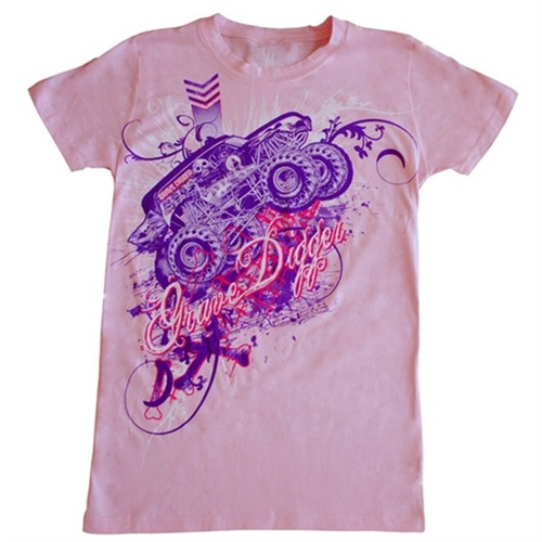 Grave Digger Ladies Collage Pink Tee