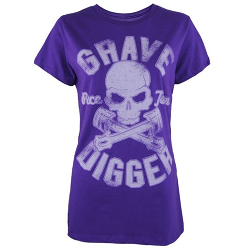 Grave Digger Ladies Varsity Tee - Purple