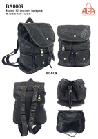 BA0009 - Washed PU Leather Anti-thief Back Zipper Backpack - (24pcs per case)