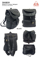 BA0010 - Washed PU Leather Anti-thief Back Zipper Backpack - (24pcs per case)
