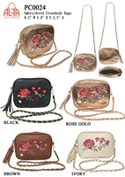 PC0024 - Colored Fashion Crossbody with Embroidery Rose (24 pcs per case)