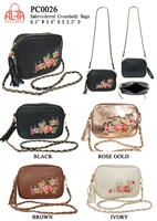 PC0026 - Colored Fashion Crossbody with Embroidery Rose (24 pcs per case)