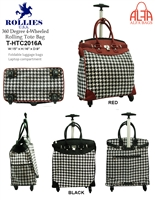 T-HTC2016A - Houndstooth 4 wheels / 360 degrees Style Rollies Rolling Tote ( 6pcs per case)