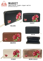 WA0027 - Rose Embroidery Fashion Wallet (72pcs per case)