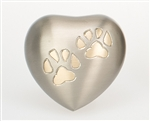 Paw Print, Pewter Finish Heart