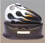 "Charcoal with White Flame ""Born to Ride"" Urn"