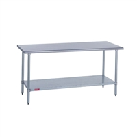 Work Tables Bull Nose Edge - 18 x 48 stainless steel work table