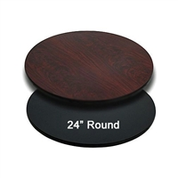 "<b>SES</b> 24"" Round Black & Mahogany Table Top"