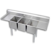 "3 Compartment Sink 18"" Dual Drainboards"