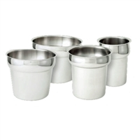 <b>Winco</b> Round Stainless Steel Inset <b>4 qt.</b>