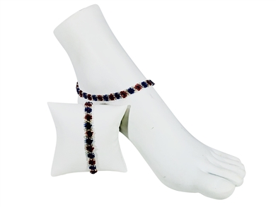 Anklet - Flower Chain Red/Silver/Blue