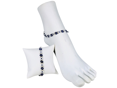Anklet - Flower Chain Royal Blue/White