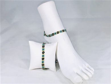 Anklet - Flower Chain Turquoise/Gold/Coffee