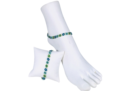 Anklet - Flower Chain Lime/Silver/Turquoise
