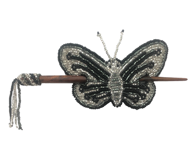 Barrette-Butterfly Black Grey Silver