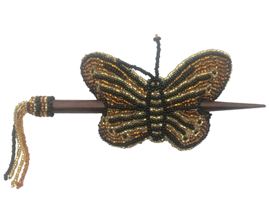 Barrette-Butterfly w/ wood rod Gold Black