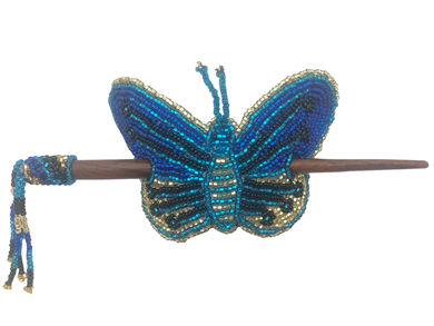 Barrette-Butterfly w/ wood rod Blues