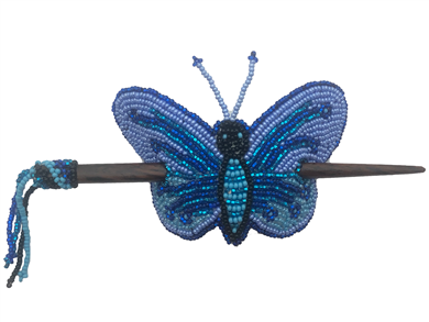 Barrette Butterfly w/ wood rod Blues