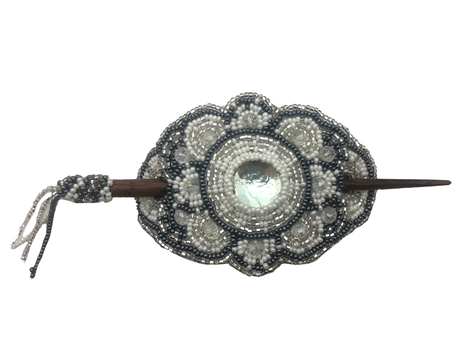 Barrette - Oval Silver/White/Grey