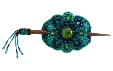 Barrette - Oval Peacock/Turquoise/Black