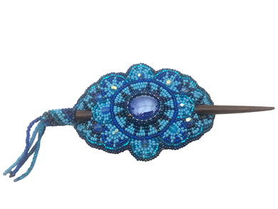 Barrette - Oval Baby Blue/Iridescent Blue