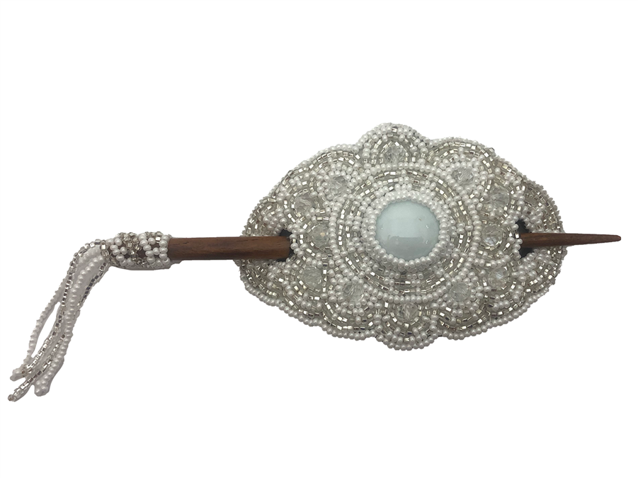 Barrette - Oval Silver/White