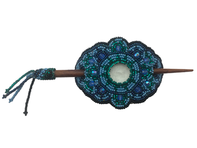 Barrette - Oval Iridescent Blue/Emerald
