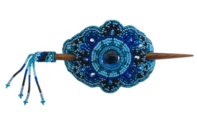 Barrette - Oval Royal Blue/Aqua