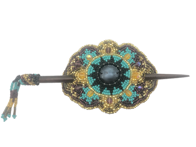 Barrette Crystal Oval w/ Wooden Rod in Seafoam/Gold/Grape